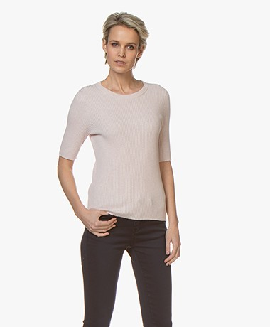 Repeat Half Sleeve Cotton Blend Rib Pullover - Rose