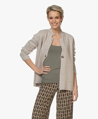 Repeat Fine Knit Cotton Cardigan - Desert