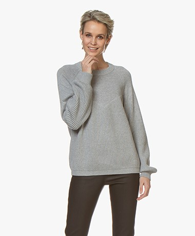 Repeat Cotton Puff Sleeve Sweater - Grey