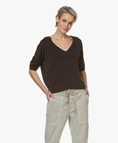 Drykorn Venja Cupro T-shirt met 3/4 Mouwen - Zwart