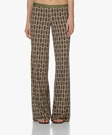 SIYU Makeba Tech Jersey Printed Pants - Green/Brown