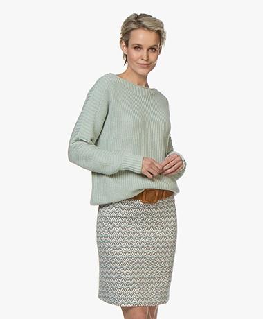 Repeat Cotton Boat Neck Rib Sweater - Jade