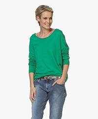 Marie Sixtine Bleuet Fine Knit Boat Neck Sweater - Tilleul