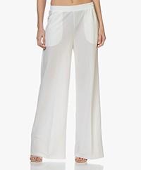 LaSalle Pique Jersey Wide Leg Pants - Panna