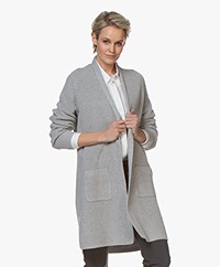Repeat Mid-length Open Rib Cardigan - Grey