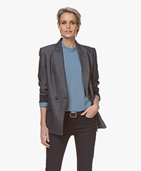 Repeat Double-breasted Twill Blazer - Indigo