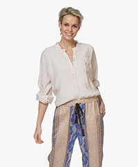 forte_forte Sand Washed Modalmix Blouse met Ruches - Shell