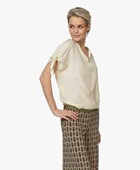 Pomandère Silk Short Sleeve Blouse - Milky White