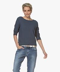 no man's land Cotton Cropped Sleeve Sweater - Denim
