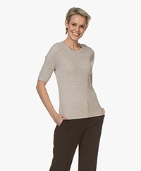 Repeat Half Sleeve Cotton Blend Rib Pullover - Desert