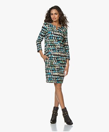 Kyra & Ko Romy Textured Jersey Print Dress - Black/Blue