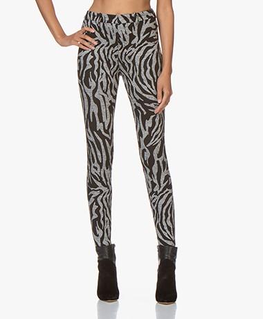 Drykorn Winch Skinny Pantalon met Zebraprint - Grey