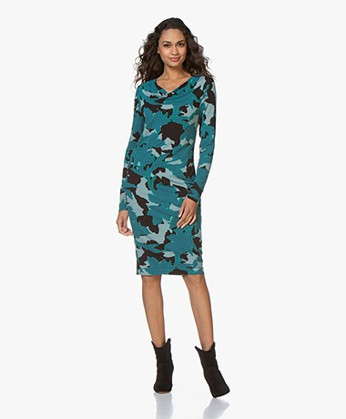 Kyra & Ko Jelica Printed Jersey Dress with Draped Collar - Petrol