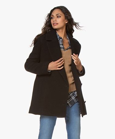 By Malene Birger Melinnda Half-Length Wool Blend Coat - Black
