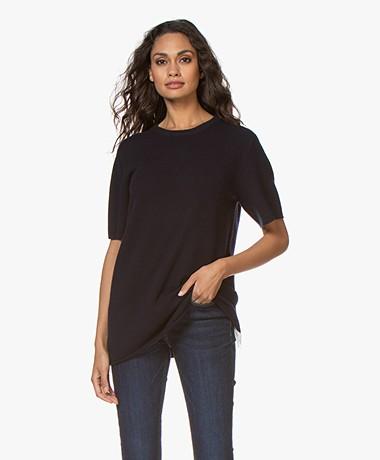 extreme cashmere N°64 Lang Gebreid Cashmere T-shirt - Navy