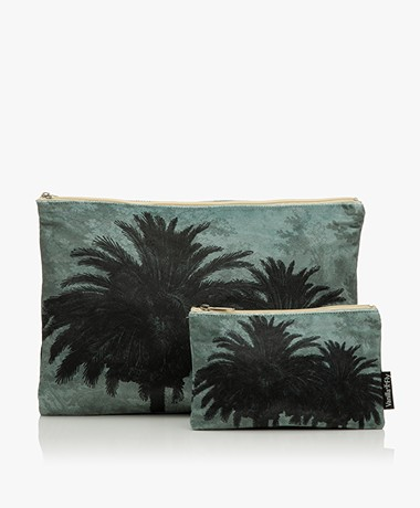 VanillaFly Velvet Makeup Bag & Pouch - Blue Palm Tree