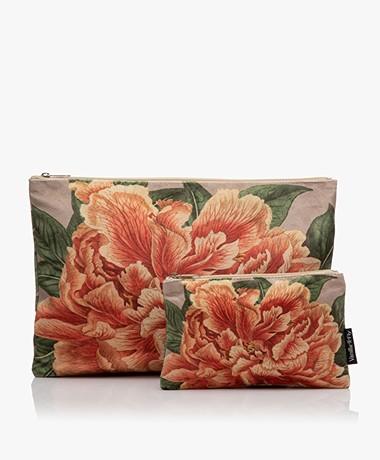 VanillaFly Velvet Makeup Bag & Pouch - Orange Flower