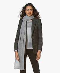 Repeat Scalloped Cashmere Scarf - Light Grey