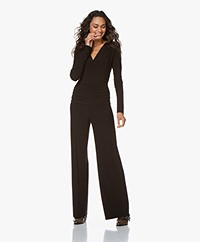 Norma Kamali V-neck Shirred Tech Jersey Jumpsuit - Black