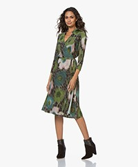 Kyra & Ko Ruby Printed Jersey Wrap Dress - Moss