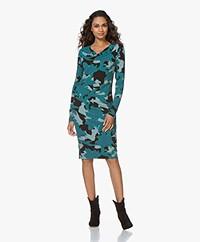 Kyra & Ko Jelica Printed Jersey Dress with Draped Collar - Petrol