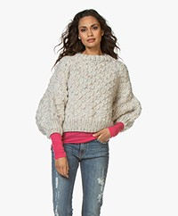I Love Mr Mittens Cropped Balloon Sleeve Sweater - Tornado White