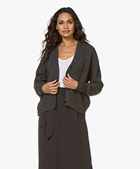 Sibin/Linnebjerg Center Wool Blend Button-through Cardigan - Anthracite