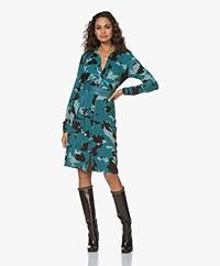 Kyra & Ko Jealynn Printed Jersey Shirt Dress - Petrol