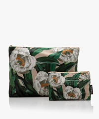 VanillaFly Velours Make-up Bag Set - White Flower Green Leaves
