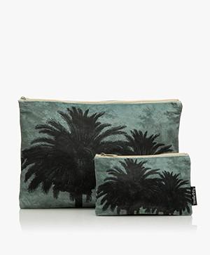 VanillaFly Velours Make-up Bag Set - Blue Palm Tree