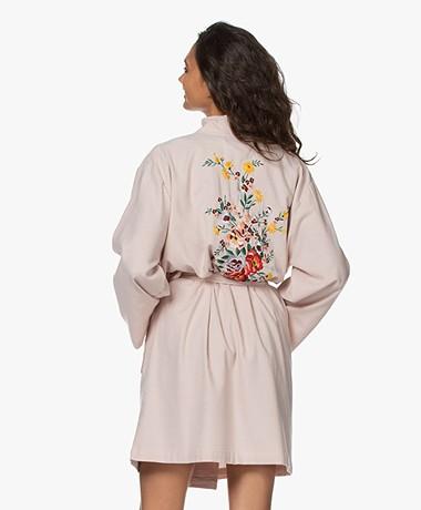 HAMMAM34 The Flower Geborduurde Katoenen Kimono - Dusty Pink