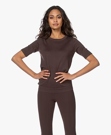 JapanTKY Kie Short Sleeve Sweater - Dark Brown