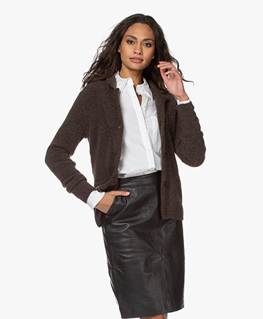Belluna Watson Mohair Blend Blazer Cardigan - Brown