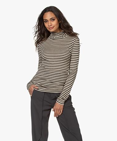 by-bar Basic Striped Turtleneck - Grey/Sand
