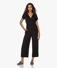 Skin Nicole Modal Blend Ribbed Jersey Jumpsuit - Black