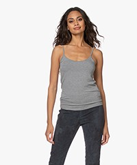 Majestic Filatures Anais Soft Touch Jersey Spaghetti Strap Top - Light Grey Mélange