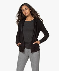 Majestic Filatures Soft Touch Hooded Sweat Cardigan - Black