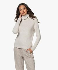 Belluna Italiani Wool Blend Turtleneck Sweater - Beige Melange