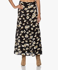 ba&sh Undee Floral Print Maxi Skirt - Black