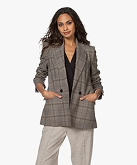Drykorn Masher Checkered Blazer - Toasted Coconut