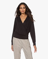 Plein Publique Le Nimes Modal Blend Wrap Long Sleeve - Black
