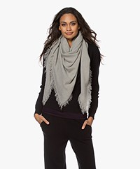 Repeat Cashmere Poncho Scarf with Fringes - Taupe