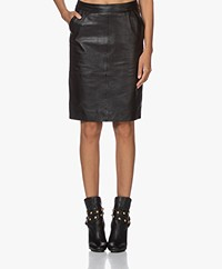 by-bar Knee-length Leather Skirt - Black