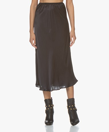 Mes Demoiselles Lima Satin Midi Skirt - Black
