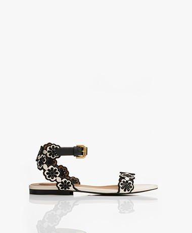 See By Chloé Doha Flower Detail Sandals - Off-white/Black