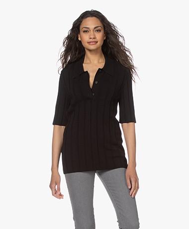 Joseph Ribgebreid Polo T-shirt - Zwart