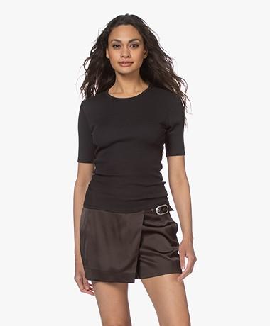 Rag & Bone The Essential Rib Pima Cotton T-shirt - Black