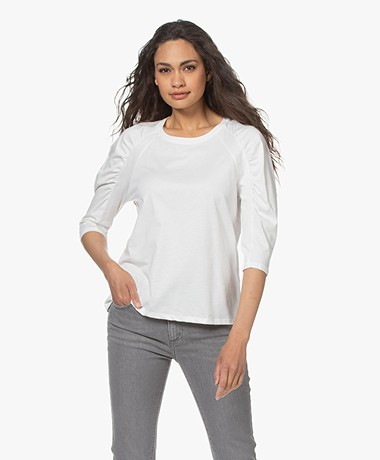 ba&sh Celian T-shirt met Pofmouwen - Off-white