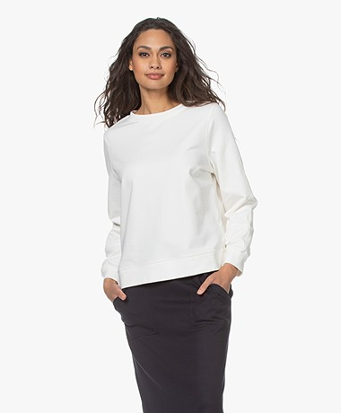 no man's land Cotton French Terry Sweater - Ivory