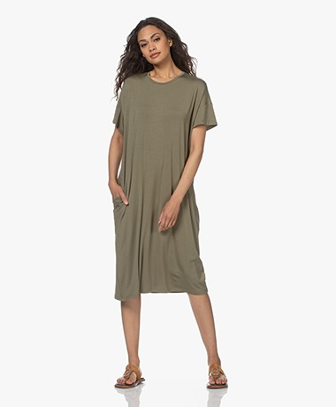 LaSalle Oversized Tencel Jersey Jurk - Moss